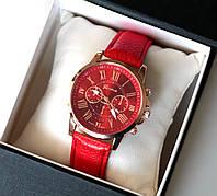 Часы наручные женские Geneva Style красные, магазин часов
