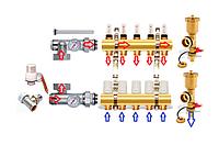 Cборный коллектор  GR с двумя конечными элементами на 12 выходов (латунный)