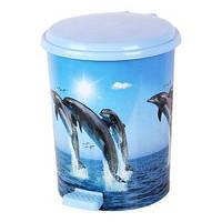 """Ведро педальное Еlif, с рисунком """"Дельфины"""", 7 л."""
