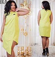 Женское платье А-симметрия. Цвет красный ,электрик и лимон. Размер 48-54. DG ат1043