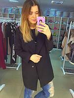 Пальто черное кашемировое демисезонное на одну пуговицу