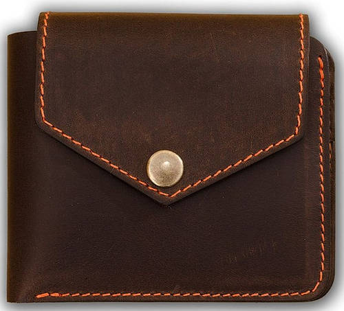 Солидное мужское портмоне на кнопке BlankNote BN-PM-4-2-o-a орех-апельсин