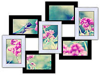 Деревянная мультирамка на 7 фото 7 Чудес, черно- белая