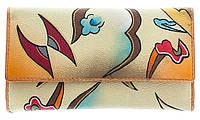 Кошелёк из натуральной кожи с ручной росписью