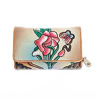 Кожаный кошелёк с ручной росписью