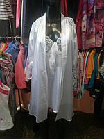 Атласный комплект (ночная сорочка+халат) белый