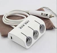 Автомобильное зарядное устройство с 3-мя выходами + 2 USB + switch YC-AD10/B04
