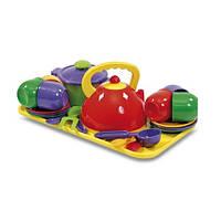 Набор детской посуды с чайником, кастрюлей и подносом (23 предмета)