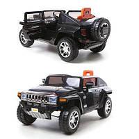 Детский электромобиль джип Hummer M 2798 EBR чкрный на амортизаторах, колеса EVA, пульт Bluetooth 2.4G