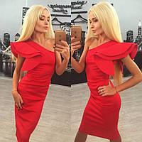 Красное платье с воланом на одно плечо. Арт.-5205/50