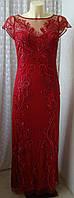Платье в пол шикарное красивое вечернее красное вышивка бренд Miss Selfridge р.44 6168