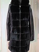 Френч кожаный с норкой-съёмные рукава+норка с капюшоном длина-90см  46р 48р
