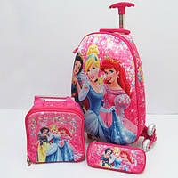 Набор детский чемодан на 6 колесах + сумка + пенал, Princess 520229