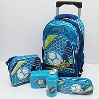 Набор детский чемодан - рюкзак + сумка + пенал + ланчбокс + бутылка, Футбол Football 520236