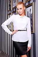 Блуза Классическая из Креп-Шифона Офисная Белая р. S-L