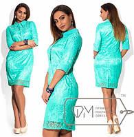 Красивое приталенное гипюровое платье большого размера в расцветках d-1515414