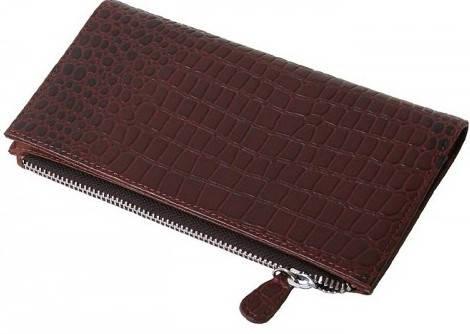 Стильный женский кошелек Vip Collection 1521B croc коричневый