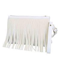 Женская белая небольшая сумка-клатч с бахрамой съмным плечевым ремнем и ручкой для переноски