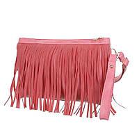 Женская небольшая сумка-клатч цвета роза с бахрамой съмным плечевым ремнем и ручкой для переноски