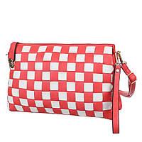 Женская красная сумка с декором в виде плетения в клетку со съмным плечевым ремнем и ручкой для переноски