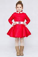 Детское стеганное пальто, отделка норка; размеры от 110 до 140