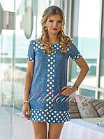 Летнее платье в горошек Романа синее