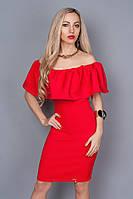 Эффектное красное платье с молнией 383 р 44-48