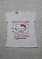 Качественная белая футболка для девочек Кошечка с бантиком