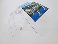 Прозрачный зонт-трость женский куполообразный Monsoon