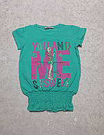 Модная подростковая футболка для девочек МЕ-бирюза