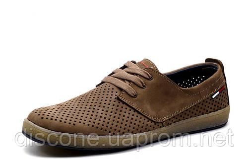 Туфли спортивные H.Denim, мужские, кожа, перфорированные, латте