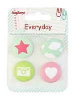 Скрап-фишки Everyday от ScrapBerry's, 4 шт