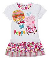 Детское белое платье - туника для девочки Peppa Pig
