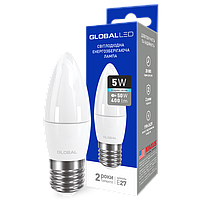 Светодиодная лампа GLOBAL C37 5W E27 220V 132, 131 (яркий, мягкий свет)