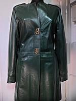 Френч кожаный зеленый длина-90см;ОГ-98;ОБ-100