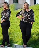 Женский костюм больших размеров. Цвет-ментол,электрик,леопард. Ткань лакоста. Размер 50-58.   DG ат718/1