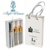 Набор мужской мини парфюмерии Chanel Bleu de Chanel Шанель Блю дэ Шанель с феромонами3*15мл