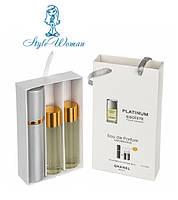 Набор мужской мини парфюмерии Chanel Egoiste Platinum Шанель Эгоист Платинум с феромонами3*15мл