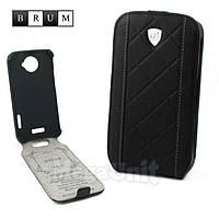 Brum Premium Кожаный чехол для HTC One X (s720e) (No.26 black)