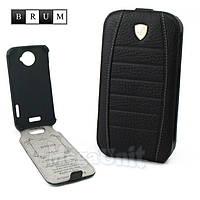 Brum Premium Кожаный чехол для HTC One X (s720e) (No.32 black)