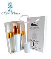 Набор мужской мини парфюмерии Lacoste Eau De Lacoste L.12.12 Blanc Лакост 12.12 Бланк с феромонами3*15мл