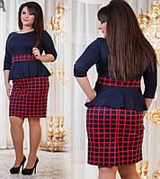 Женское платье - баска в клетку и леопардовый принт. Состав трикотаж. Размер 50-56. DG д794.1