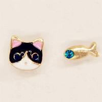 Серьги - гвоздики (пусеты) Cat and fish