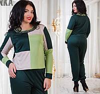 Женский костюм трикотажный. Цвет темно-зеленый, черный. Размер 50-56.  DGат1032