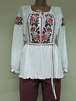 Вышиванка - туника длинный рукав Розовый букет. Размер 36 - 62
