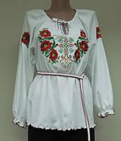 Туника с вышивкой длинный рукав Маки. Размер 36 - 58