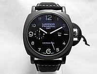 Мужские часы Panerai Luminor GMT ceramica черный ремешок и циферблат
