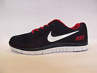 Кроссовки мужские  Nike Free Run 3.0 текстиль, синие с красным  (найк фри ран)р.41