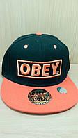 Кепка  хип-хоп OBEY черная с оранжевым козырьком.