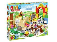 Детский конструктор JDLT 5096 Зоопарк 115 деталей, крупные детали.